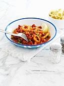 Calamari al pomodoro (squid with tomato sauce, Italy)