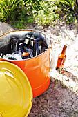 Bottles of beer in an ice bucket