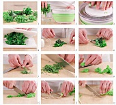 Fresh herbs being prepared (German voice-over)