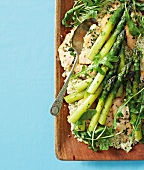 Grilled fish on quinoa salad with asparagus
