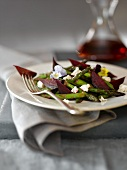 Beet, Asparagus and Goat Cheese Salad with Nasturtium Blossoms