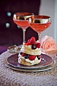 Meringue with berries and cream