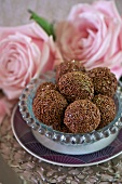 Truffle pralines with chocolate sprinkles