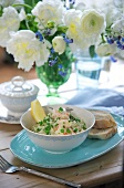 Risotto with king prawns and peas