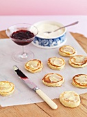 Pikelets with butter and jam