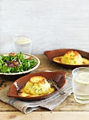 Twice baked souffles with salad