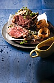 Prime rib steak with Yorkshire pudding and gravy