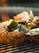 Grilled lobster served with basil mayonnaise
