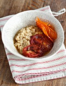 Risotto with confit tomatoes and tomato skin