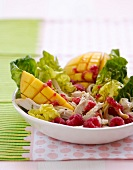 Mixed leaf salad with smoked chicken, raspberries and mango