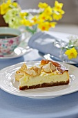 A slice of lemon cheesecake for Easter