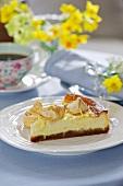 A slice of lemon cheesecake for Easter