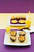 Passion fruit cupcakes, passion fruit and vanilla tartlets, and caramelised passion fruit