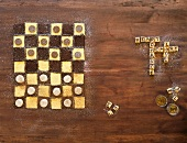 A chocolate and vanilla chessboard cake