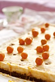 Cheesecake with gooseberries and honey