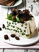 Asparagus terrine with fried mushrooms