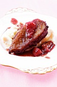 Duck breast with caramelised strawberries