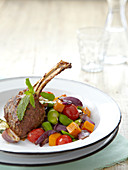 Lamb chops with broad beans and grilled vegetables