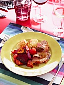 Roast lamb with ratatouille and fried potatoes
