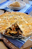 Rabbit and mushroom puff pastry pie