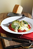 Pasta roulade filled with spinach and ricotta on a tomato and bechamel sauce