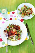 Cajun salmon steak with salsa salad