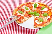 Pizza on checkered tablecloth