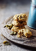 Oatmeal cookies on wooden board