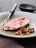 Close up of red mullet with wild rice