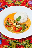 Plate of red curry and rice