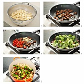 Steps for Making Pasta with Ground Sausage and Sauteed Vegetables