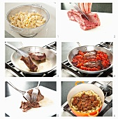 Steps for Preparing at Shredded Beef and Pasta Dish