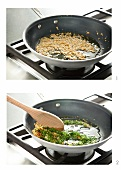 Sauteing Garlic and Herbs in a Skillet