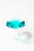 Blue Martini From Above on a White Background