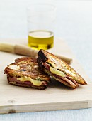 Grilled Ham and Cheese Sandwich on a Cutting Board