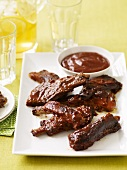 Ribs, Close Up, with Barbecue Sauce