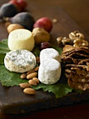Wooden Platter with Cheeses, Nuts and Fruit