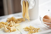 Fresh Homemade Pasta in and around a Pasta Maker