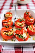 Tomatoes filled with goat's cheese, croutons, parsley and pine nuts