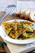 Thyme frittata with balsamic dressing