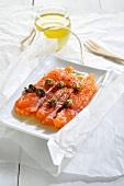 Salmon carpaccio with capers