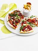 Pizza slices and garlic bread