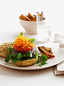 Lamb burger with tomatoes and carrots