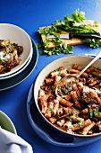 Rigatoni with beef and herbs