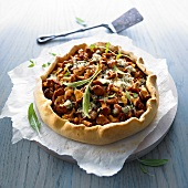 Chanterelle mushroom tart with Roquefort cheese