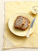 Plate of whole wheat bread with butter