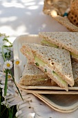 Cucumber and goat's cheese sandwiches