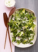 Herb Salad in a Serving Dish with Wooden Servers and Creamy Dressing; From Above