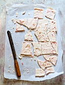 White Chocolate Peppermint Bark on Parchment Paper