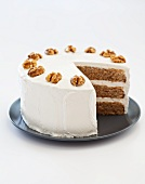 Maple Walnut Triple Layer Cake; Slice Removed